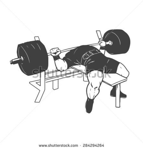 Stock vector powerlifting bench press figure on isolated white background 284294264